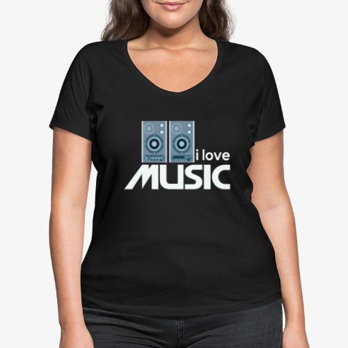 Amo la música 02 - Camiseta ecológica mujer con cuello de pico de Stanley & Stella