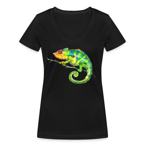 MIKO Chamäleon Chamaeleon Chameleon - Frauen Bio-T-Shirt mit V-Ausschnitt von Stanley & Stella