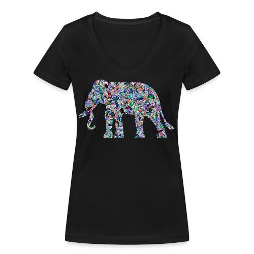 Elephant - Women's Organic V-Neck T-Shirt by Stanley & Stella