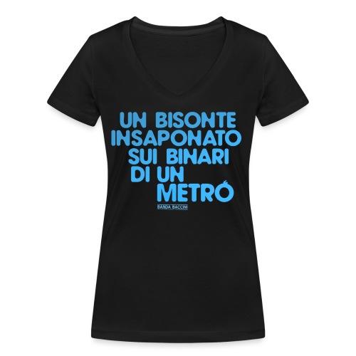 Un bisonte insaponato sui binari di un metrò. - T-shirt ecologica da donna con scollo a V di Stanley & Stella