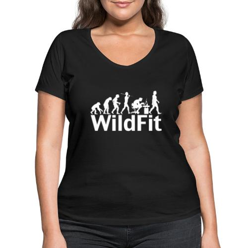 WildFit Logo Evolution Weiß - Frauen Bio-T-Shirt mit V-Ausschnitt von Stanley & Stella