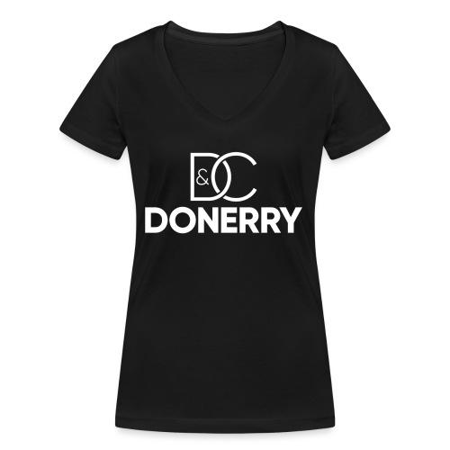DONERRY New White Logo on Dark - Women's Organic V-Neck T-Shirt by Stanley & Stella