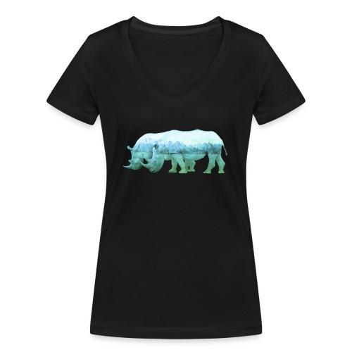 RHINOS, DIE NASHÖRNER IN DEN ALPEN - Frauen Bio-T-Shirt mit V-Ausschnitt von Stanley & Stella