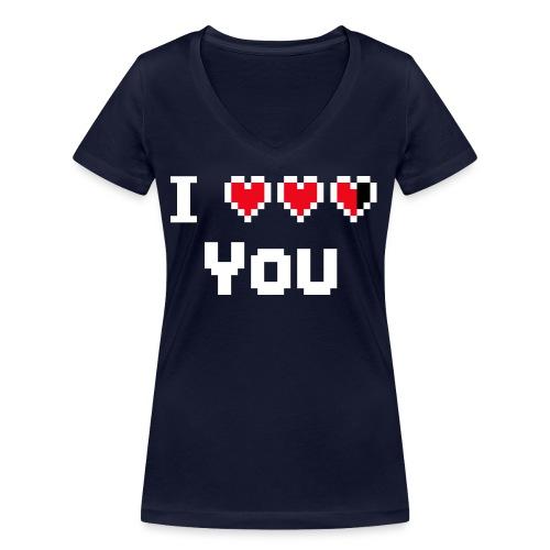 I pixelhearts you - Vrouwen bio T-shirt met V-hals van Stanley & Stella