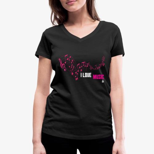 MUSIC 001 - Camiseta ecológica mujer con cuello de pico de Stanley & Stella