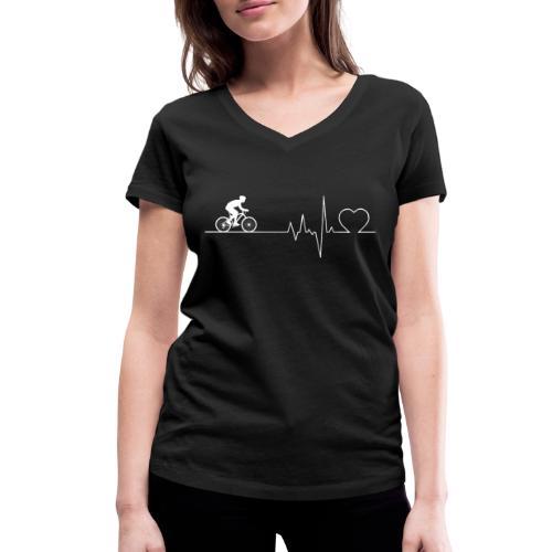 Herzschlag Heartbeat Fahrrad Rennrad Geschenk - Frauen Bio-T-Shirt mit V-Ausschnitt von Stanley & Stella