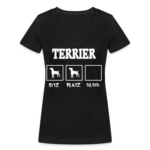 Terrier SITZ PLATZ BLEIB - Frauen Bio-T-Shirt mit V-Ausschnitt von Stanley & Stella