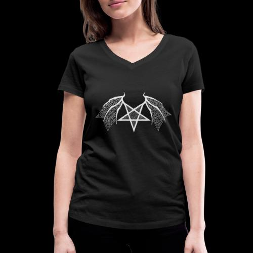 flügelpentagrammitstrukturhellgrau.png - Frauen Bio-T-Shirt mit V-Ausschnitt von Stanley & Stella