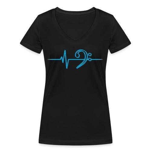 LowHeartBeatDouble cyan - Frauen Bio-T-Shirt mit V-Ausschnitt von Stanley & Stella
