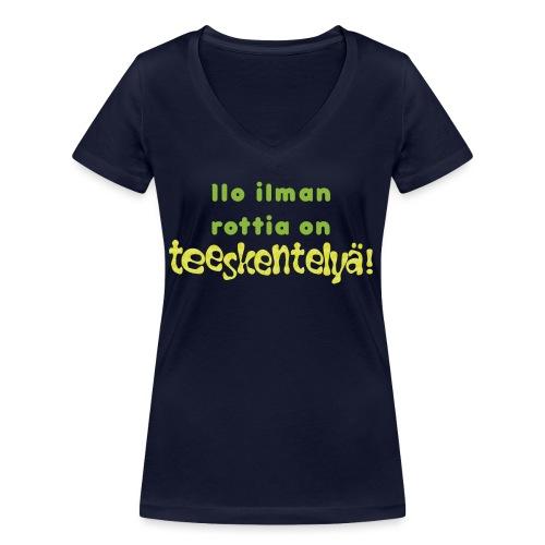 Ilo ilman rottia - vihreä - Stanley & Stellan naisten v-aukkoinen luomu-T-paita