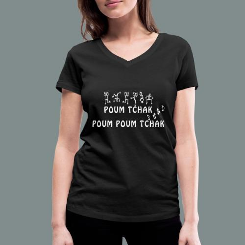Batterie poum tchak - idee cadeau batteur - T-shirt bio col V Stanley & Stella Femme