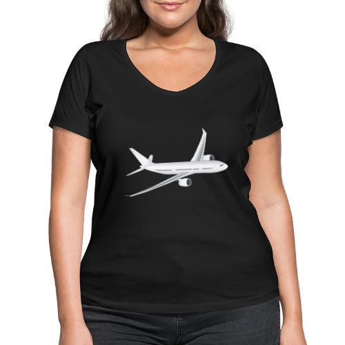 Flugzeug - Frauen Bio-T-Shirt mit V-Ausschnitt von Stanley & Stella