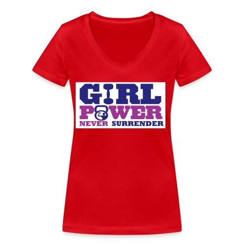 GIRL POWER NEVER surrender 01 - Camiseta ecológica mujer con cuello de pico de Stanley & Stella