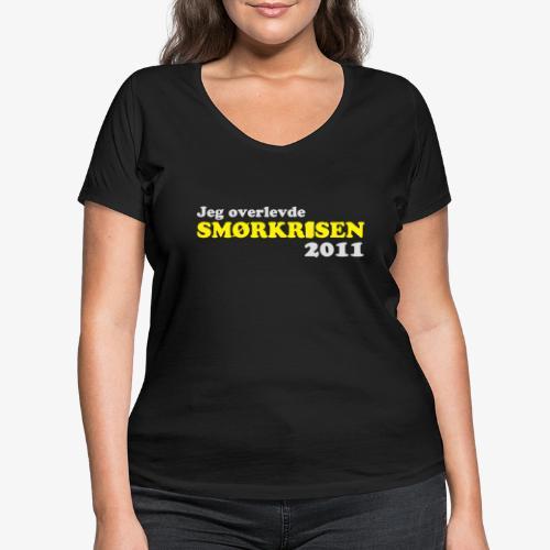 Smørkrise 2011 - Norsk - Økologisk T-skjorte med V-hals for kvinner fra Stanley & Stella
