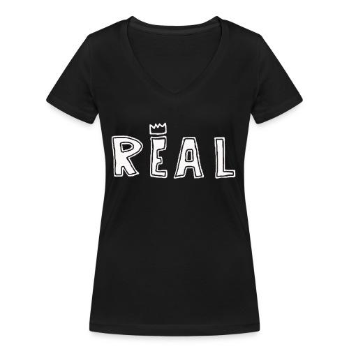 REAL (White) - Vrouwen bio T-shirt met V-hals van Stanley & Stella