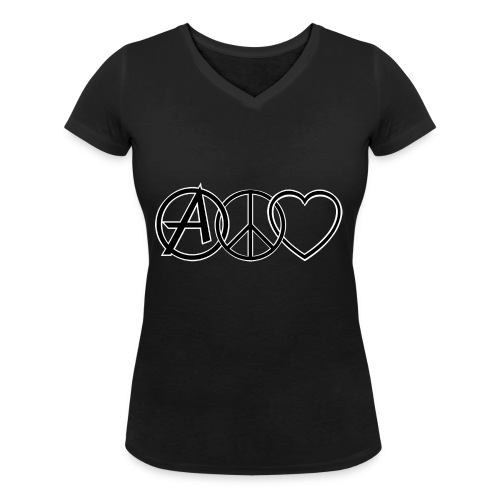 ANARCHY PEACE & LOVE - Women's Organic V-Neck T-Shirt by Stanley & Stella