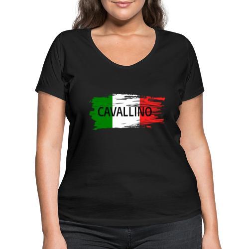 Cavallino auf Flagge - Frauen Bio-T-Shirt mit V-Ausschnitt von Stanley & Stella