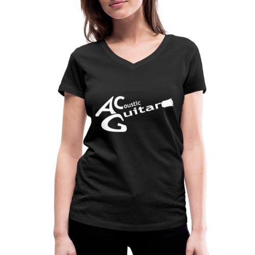 Acoustic Guitar Logo - White - Women's Organic V-Neck T-Shirt by Stanley & Stella