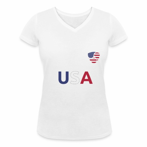 NEM USA white - T-shirt ecologica da donna con scollo a V di Stanley & Stella