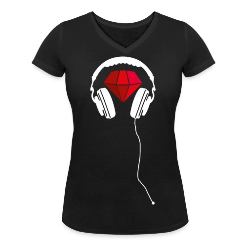 Rotweis Kopfhörer png - Frauen Bio-T-Shirt mit V-Ausschnitt von Stanley & Stella