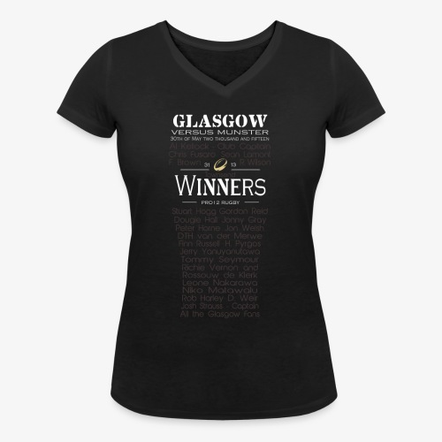 PRO12 Winners Glass - Women's Organic V-Neck T-Shirt by Stanley & Stella