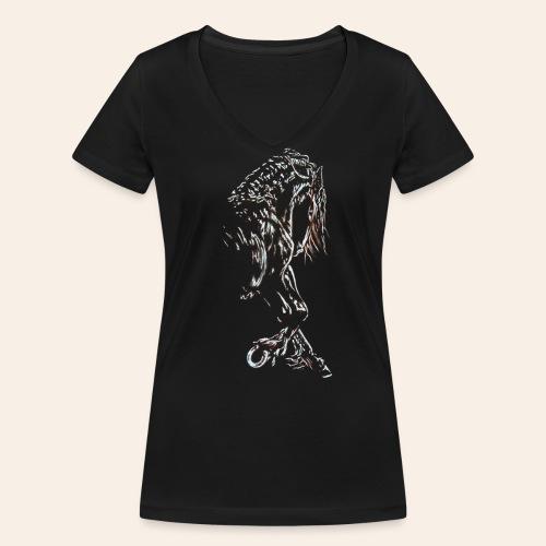 Frieseschwarz - Frauen Bio-T-Shirt mit V-Ausschnitt von Stanley & Stella