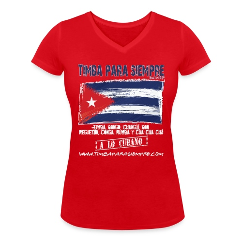logo front red final border5 red png - Women's Organic V-Neck T-Shirt by Stanley & Stella