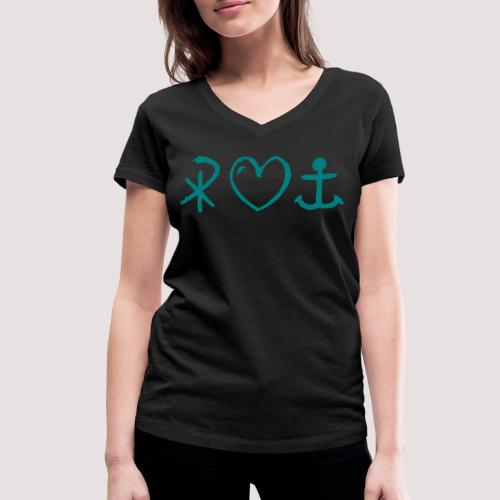 glaubeliebehoffnung_sw - Frauen Bio-T-Shirt mit V-Ausschnitt von Stanley & Stella