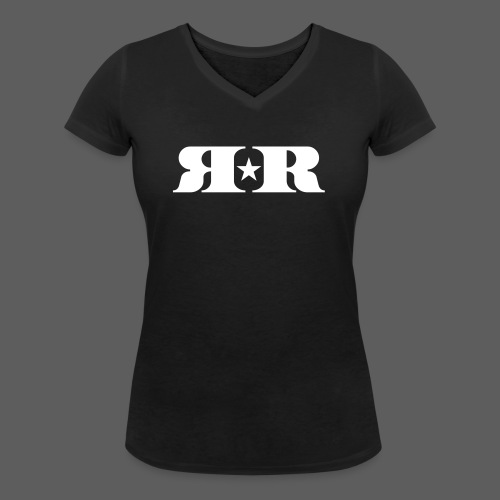 RR White Mirror Logo - Women's Organic V-Neck T-Shirt by Stanley & Stella