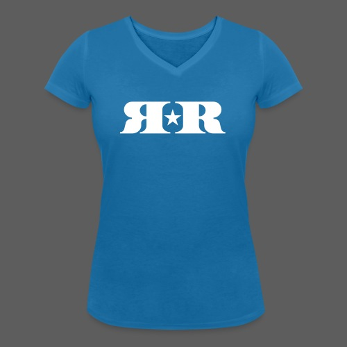 RR White Mirror Logo - Women's Organic V-Neck T-Shirt by Stanley & Stella