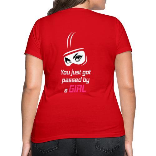 You Just Got Passed By a Girl - Stanley & Stellan naisten v-aukkoinen luomu-T-paita