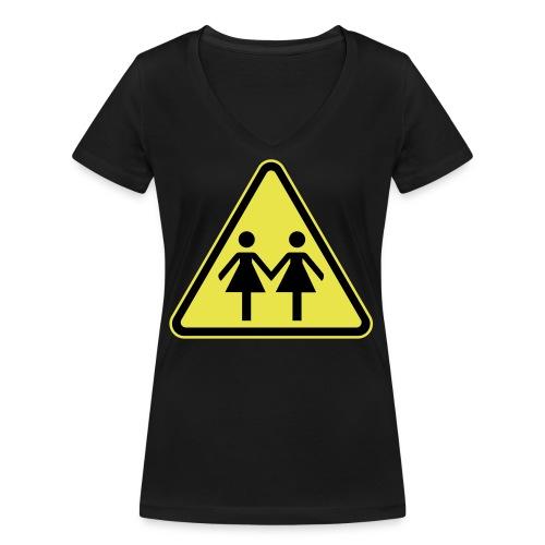 ACHTUNG LESBEN POWER! Motiv für lesbische Frauen - Frauen Bio-T-Shirt mit V-Ausschnitt von Stanley & Stella