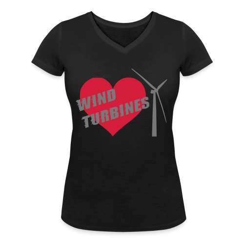 wind turbine grey - Women's Organic V-Neck T-Shirt by Stanley & Stella