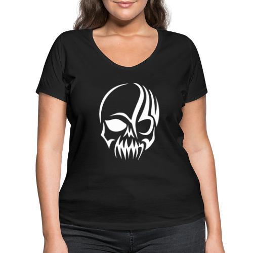 Tribal Skull white mit Logo - Frauen Bio-T-Shirt mit V-Ausschnitt von Stanley & Stella