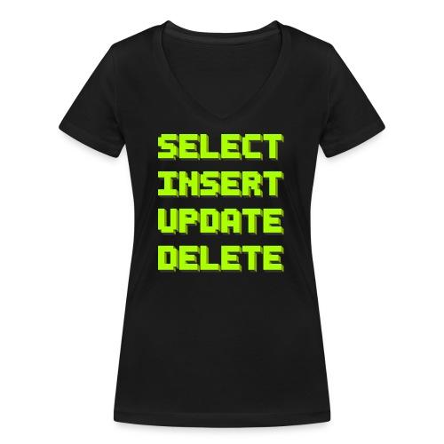 SQL pixelart black - Frauen Bio-T-Shirt mit V-Ausschnitt von Stanley & Stella