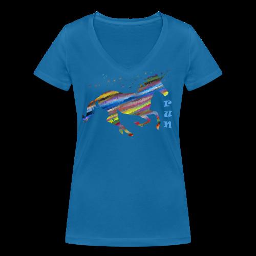 kunterbuntes Einhorn - Frauen Bio-T-Shirt mit V-Ausschnitt von Stanley & Stella