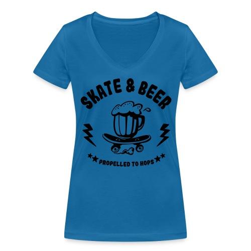 skateboard et bière - T-shirt bio col V Stanley & Stella Femme