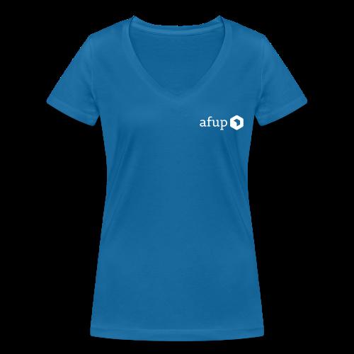 Logo AFUP Blanc - T-shirt bio col V Stanley & Stella Femme