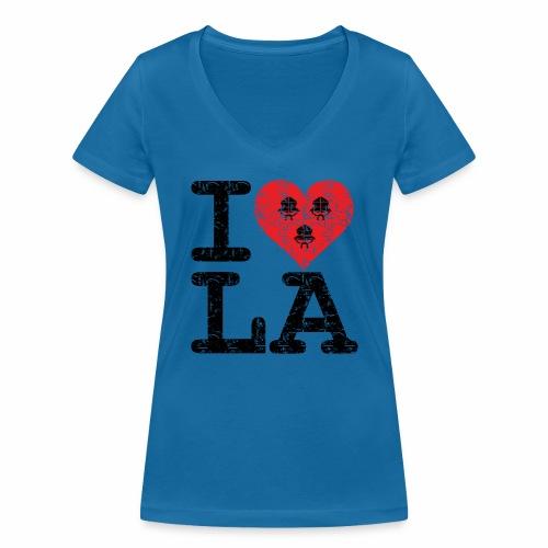 I love LA! schwarz scratchy - Frauen Bio-T-Shirt mit V-Ausschnitt von Stanley & Stella