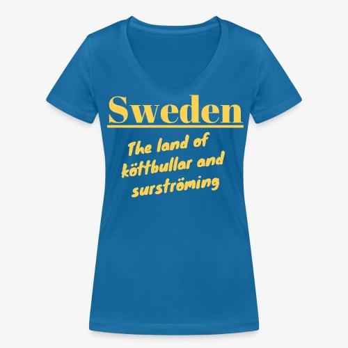 Landet av köttbullar - Ekologisk T-shirt med V-ringning dam från Stanley & Stella