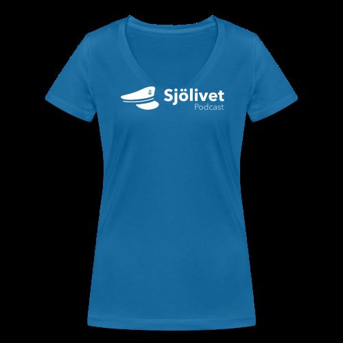 Sjölivet podcast - Vit logotyp - Ekologisk T-shirt med V-ringning dam från Stanley & Stella