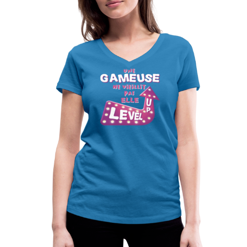 Gameuse Rose - T-shirt bio col V Stanley & Stella Femme