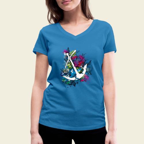 Echte Anker haben Kurven - Frauen Bio-T-Shirt mit V-Ausschnitt von Stanley & Stella