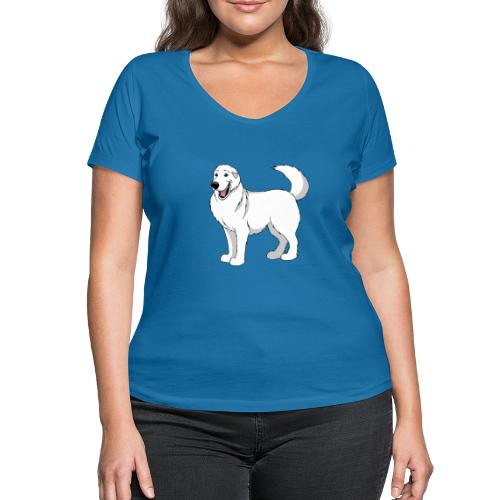 Gentle Giant Pyrenean Mountain Dog - Women's Organic V-Neck T-Shirt by Stanley & Stella