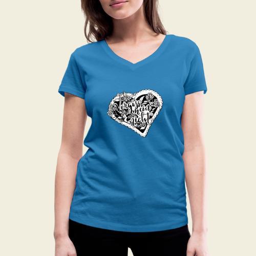 Vergissmeinnicht-Herz mit weißem Hintergrund - Frauen Bio-T-Shirt mit V-Ausschnitt von Stanley & Stella