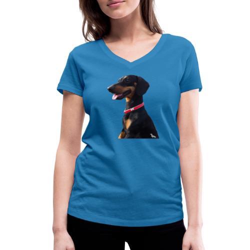 Bassotto Felice - T-shirt ecologica da donna con scollo a V di Stanley & Stella