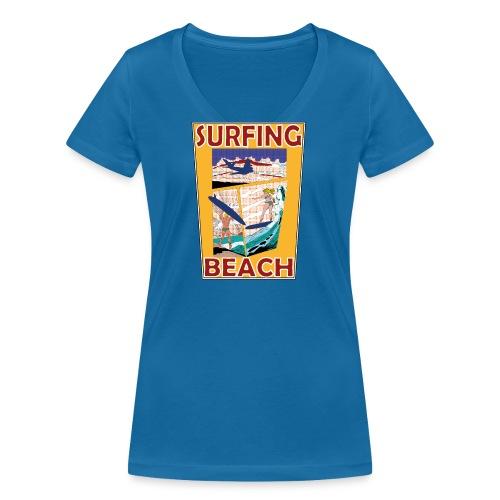 Surfing beach comic Urlaub t-shirt - Frauen Bio-T-Shirt mit V-Ausschnitt von Stanley & Stella