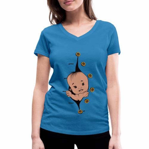 Design 1 baby without smile buttons right - T-shirt bio col V Stanley & Stella Femme