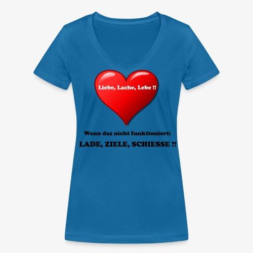 Liebe, Lache, Lebe!! - Frauen Bio-T-Shirt mit V-Ausschnitt von Stanley & Stella