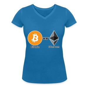 Bitcoin vs ethereum withe ok - Women's Organic V-Neck T-Shirt by Stanley & Stella